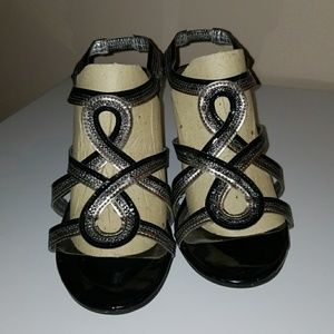 Anne Klein black and silver shoes